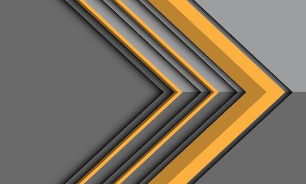 Abstrakte gelbe pfeilrichtung auf grauem metallischem schatten mit leerraumhintergrundillustration.