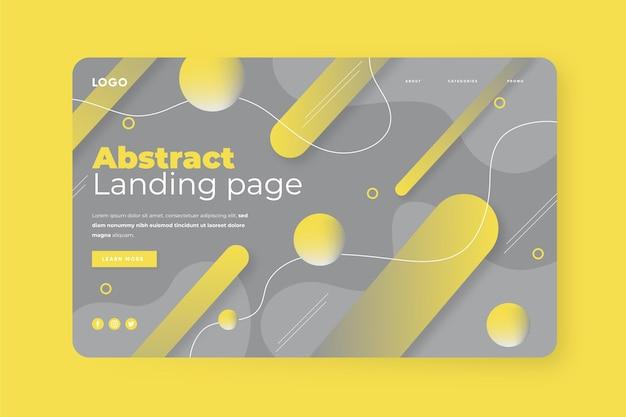 Abstrakte gelbe und graue landingpage-vorlage
