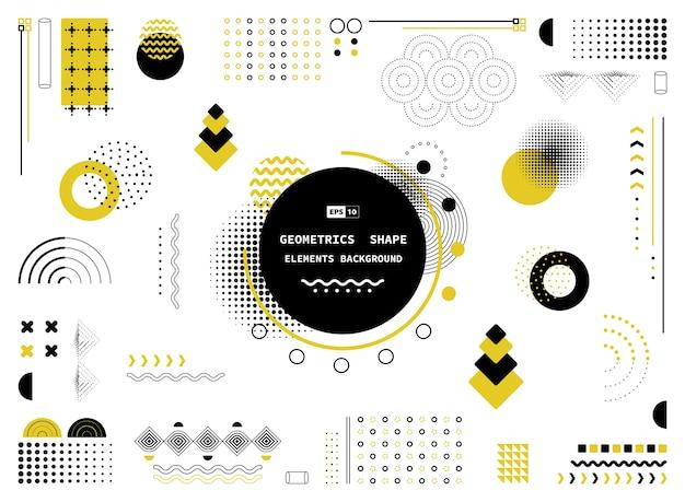 Abstrakte gelbe und schwarze geometrische formen der modernen elemente.