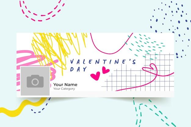 Abstrakte gemalte kindliche valentinstag-facebook-abdeckung