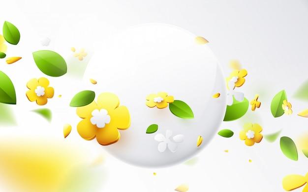 Abstrakte geometrische 3d-effektkompositionen mit frühlingssaisonhintergrund. bunte blume im frühling mit rundem banner