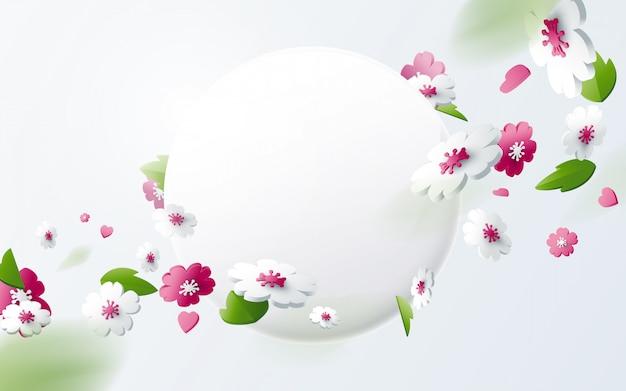 Abstrakte geometrische 3d-effektkompositionen mit frühlingssaisonhintergrund. bunte blume mit rundem banner