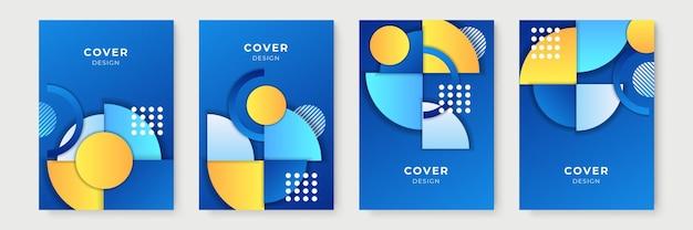 Abstrakte geometrische cover-designs mit farbverlauf, trendige broschürenvorlagen, farbenfrohe futuristische poster. vektor-illustration. blau-gelb-farbverlauf