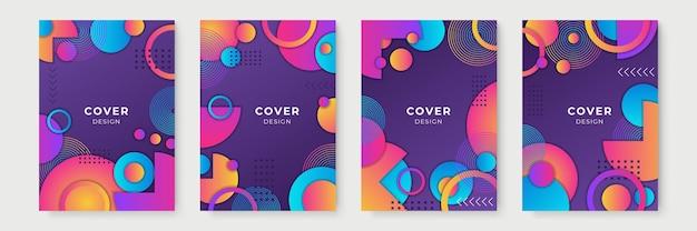 Abstrakte geometrische cover-designs mit farbverlauf, trendige broschürenvorlagen, farbenfrohe futuristische poster. vektor-illustration. globale farbfelder