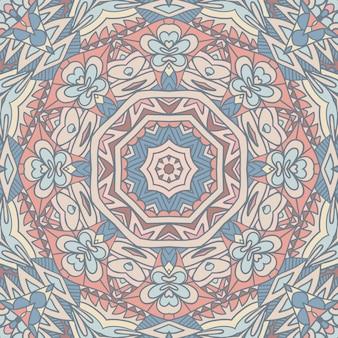 Abstrakte geometrische fliesen böhmischen ethnischen musterdesign ornamental. grafikdruck im indischen stil