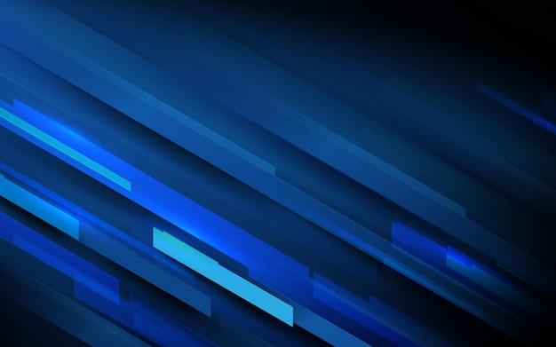 Abstrakte geometrische form der hochgeschwindigkeitsbewegung auf dunkelblauem hintergrund mit futuristischem digitalem hi-tech-technologiekonzept.