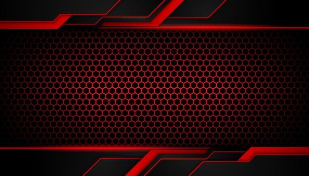Abstrakte geometrische formen des roten lichtes auf hexagondunkelheitshintergrund