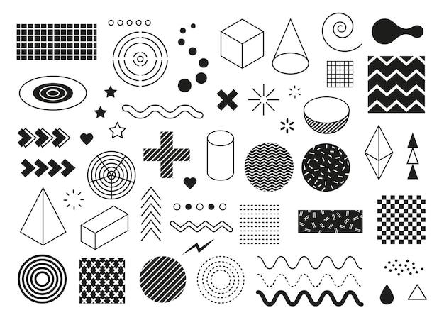 Abstrakte geometrische formen moderne minimale grafische elemente welle dreieckslinie halbkreiswürfel