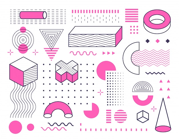 Abstrakte geometrische formen und formen, die mit farbe gesetzt werden. design im memphis-stil
