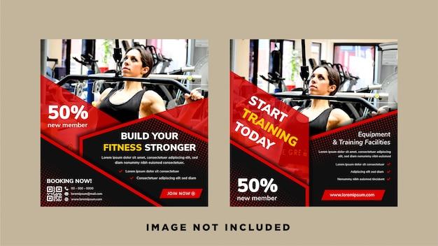 Abstrakte geometrische für soziale medienwebbanner-entwurfsschablone mit fitness- und trainingskonzept. kombination aus roten und schwarzen farben für das elementdesign. platz für foto oben.