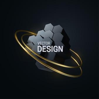 Abstrakte geometrische komposition mit sechseckigen formen und goldenen ringen