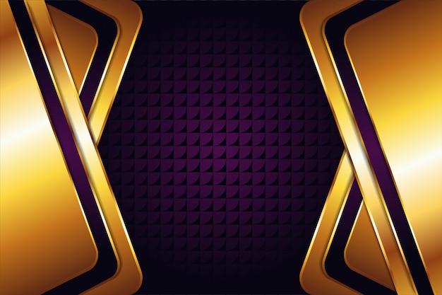 Abstrakte geometrische mit lila goldhintergrund und transparenzpfeilsymbol pattren. sechseckraumblick in der mitte. glanzgold-effekt für elementdesign.