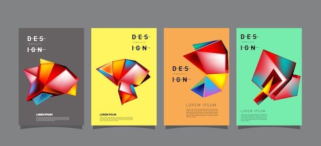 Abstrakte geometrische poster-set-design-vorlage
