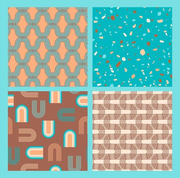 Abstrakte geometrische sammlung nahtloser muster. zeitgenössischer stil.