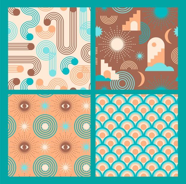 Abstrakte geometrische sammlung nahtloser muster