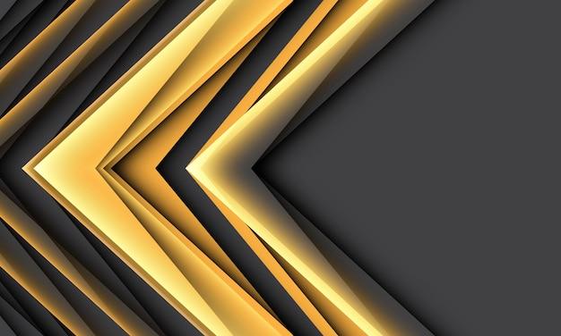 Abstrakte geometrische schattenrichtung des gelben pfeils auf dunkelgrauem mit futuristischem hintergrund des leeren raumes