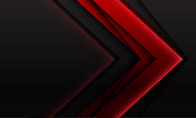 Abstrakte geometrische schattenrichtung des roten pfeils auf dunkelgrauem mit futuristischem hintergrund des leeren raumes