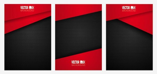Abstrakte geometrische streifenentwurfsabdeckung auf kohlefaser, rote farbe auf dunkler textur