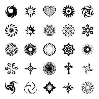 Abstrakte geometrische symbole glyphensatz