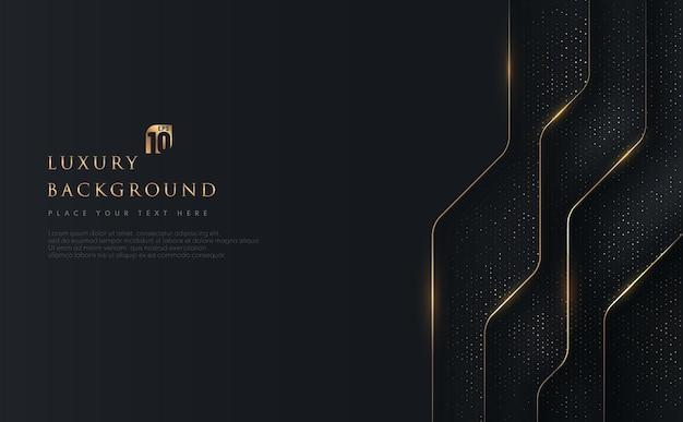 Abstrakte geometrische überlappung auf schwarzem hintergrund mit glitzer und goldenen linien, die punkte goldene kombinationen glühen.