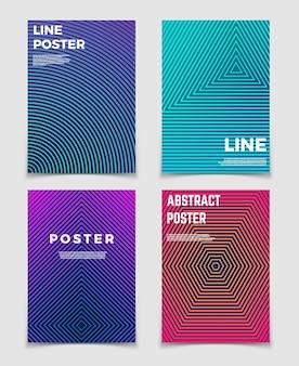 Abstrakte geometrische vektorhintergründe mit linie mustern. modernes minimalistisches design für poster und buchcover