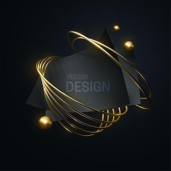 Abstrakte geometrische zusammensetzung mit schwarzen kurvigen papierblättern und goldenen ringen