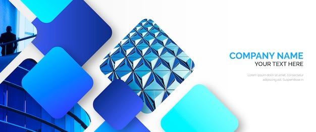 Abstrakte geschäfts-fahnenschablone mit blauen formen