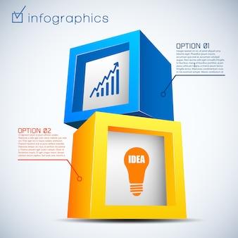 Abstrakte geschäftsinfografiken mit zwei optionen der bunten ziegelsteindiagrammbirne 3d
