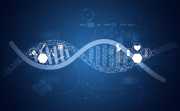 Abstrakte gesundheit dna-medizin gesundheitswesenhintergrund-digitaltechnik