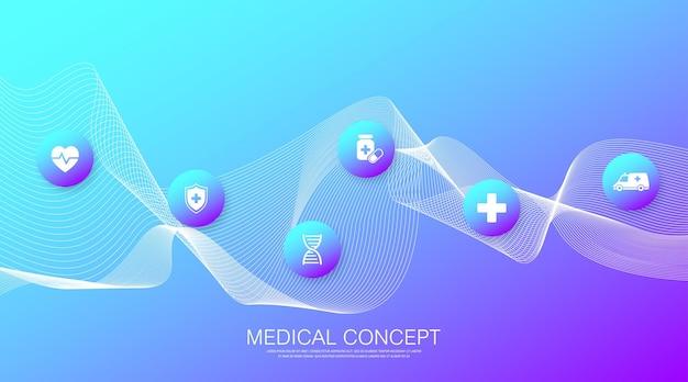 Abstrakte gesundheitsfahnenschablone mit flachen ikonen. konzept der gesundheitsmedizin. banner für medizinische innovationstechnologie-apotheken. vektor-illustration