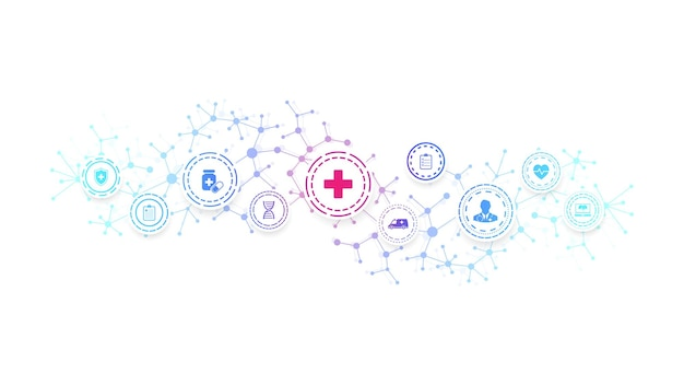 Abstrakte gesundheitsfahnenschablone mit flachen ikonen. konzept der gesundheitsmedizin. medizinischer innovationshintergrund, pharmazeutisches banner. wellenfluss. vektor-illustration.