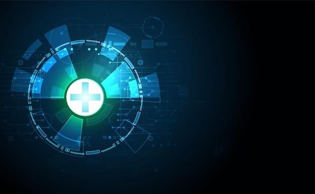 Abstrakte gesundheitswissenschaften bestehen aus gesundheit und digitalem technologiehintergrund