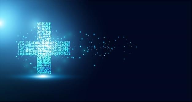 Abstrakte gesundheitswissenschaften bestehen aus gesundheit und digitaler technologie