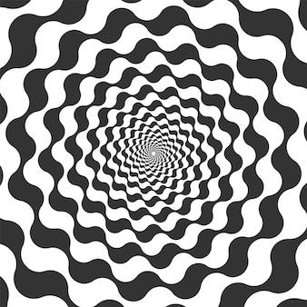 Abstrakte gewirbelte silhouette. wirbelkreis, der illusion, trügerische bewegung erzeugt. schwarz-weiß-spin für hypnotischen effekt und kundenkonzentration, mesmerismus-konzeptvektorillustration