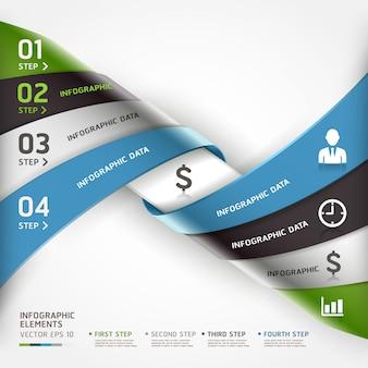 Abstrakte gewundene geschäftsschrittwahlen können für arbeitsflussplan, diagramm, zahlwahlen, infografiken, webdesign benutzt werden.