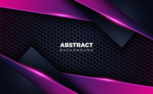 Abstrakte glänzende dunkelblaue und purpurrote formüberschneidungs-hintergrundtechnologie und futuristisches konzept