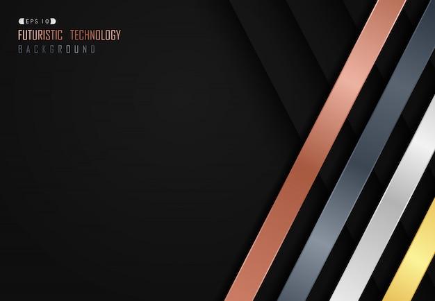 Abstrakte glänzende linie auf dunklem technischem schwarzem hintergrund.