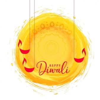 Abstrakte glückliche diwali festivalkarte mit diya dekoration