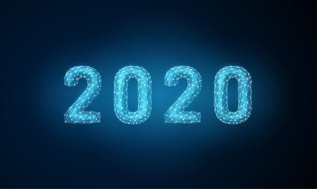 Abstrakte glückliche grußkarte des neuen jahres 2020 mit futuristischer art
