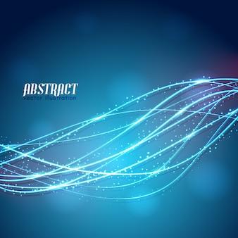 Abstrakte glühende gekrümmte linien mit weißen glitzern auf unscharfem blauem hintergrund