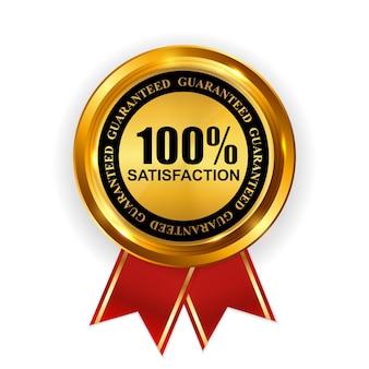 Abstrakte gold label 100 zufriedenheitsvorlage