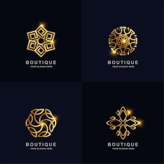 Abstrakte goldene blume oder boutique-ornament-logo-set-sammlung. kann spa-, salon-, beauty- oder boutique-logo-design verwendet werden.