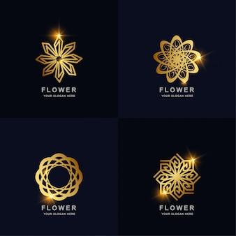 Abstrakte goldene blume oder verzierungslogosatzsammlung. minimalistisches, kreatives, einfaches, digitales, luxuriöses, elegantes und modernes logo-vorlagendesign. Premium Vektoren