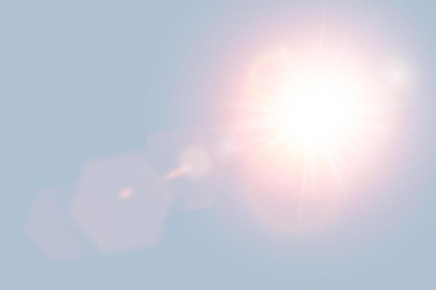 Abstrakte goldene frontsonne lens flare durchscheinendes spezielles lichteffektdesign. vektorunschärfe in bewegung glühen blendung. blauer sonnenreis-himmelshintergrund. regenbogen-element. horizontaler starburst-strahl und -scheinwerfer.