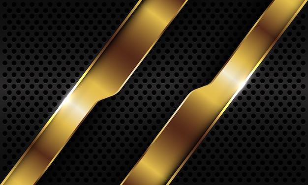 Abstrakte goldene geometrische linie schrägstrichüberlappung auf schwarzem metallischem kreisnetzhintergrund.