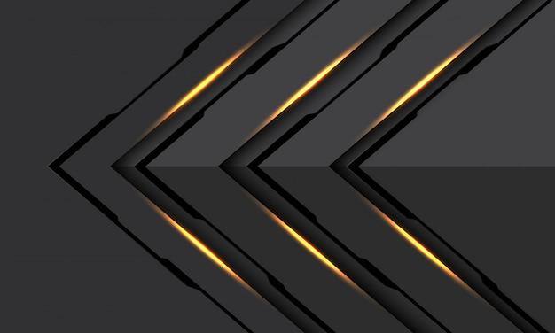 Abstrakte goldene hellschwarze linie cyberpfeil richtung dunkelgrauer metallischer futuristischer technologiehintergrund.