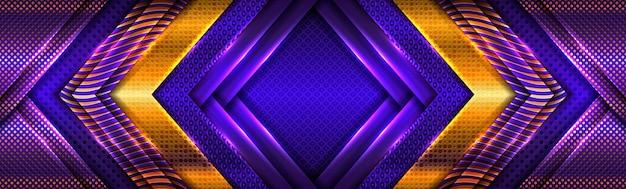 Abstrakte goldene lichtlinien auf lila blauem hintergrund
