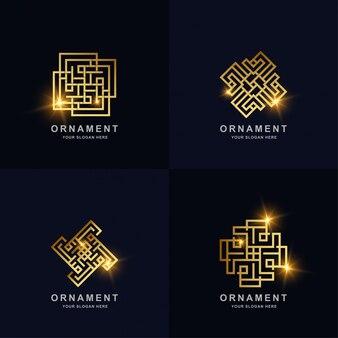 Abstrakte goldene linie ornament logo set sammlung. minimalistisches, kreatives, einfaches, digitales, luxuriöses, elegantes und modernes logo-vorlagendesign.