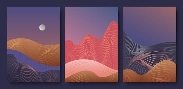 Abstrakte goldene linie zeitgenössische ästhetische nachtlandschaft mit mond setzen trendige kunstwanddekoration