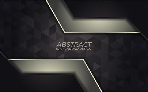 Abstrakte goldene metallische linie auf einem dunklen hintergrund. luxuriöses design mit überlappungsrichtung. futuristischer moderner dunkelgrauer hintergrund.